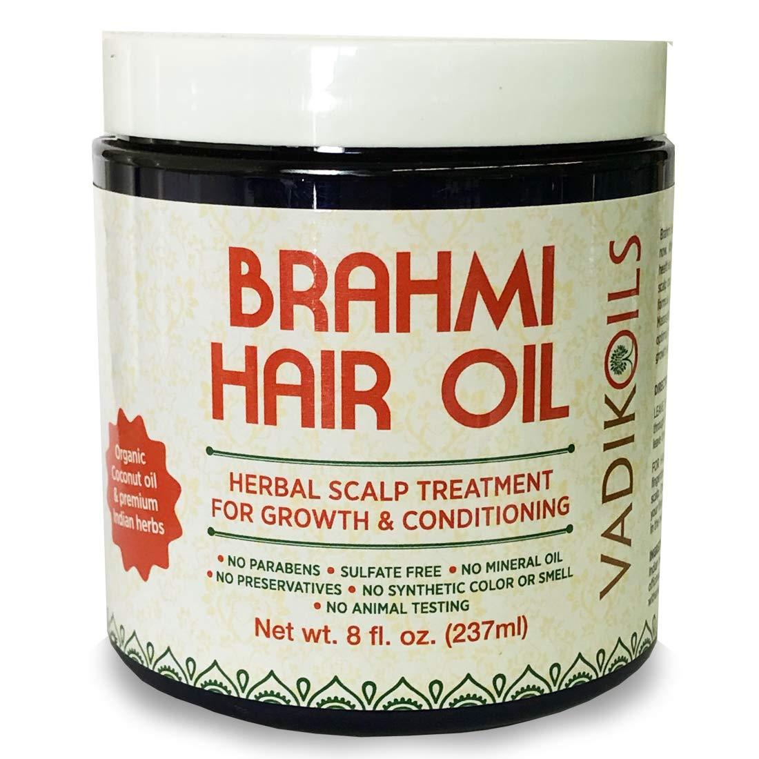 Brahmi Hair Oil (8 oz) by Vadik Herbs | All natural herbal hair oil for hair growth, hair conditioning, dandruff and dry scalp | Herbal scalp treatment by Vadik Herbs