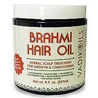 Brahmi Hair Oil (8 oz) by Vadik Herbs | All natural herbal hair oil for hair growth...