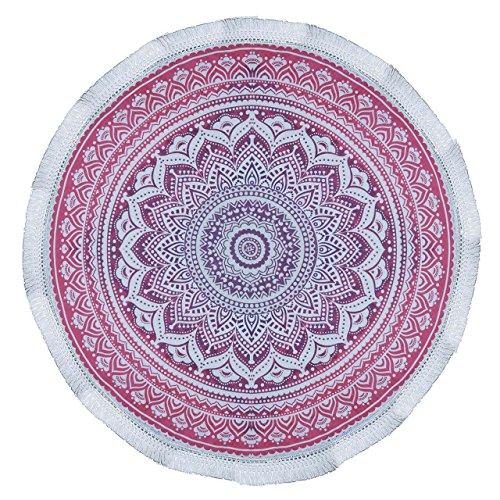 Kitsch Round Beach Blanket - Hippie / Boho Mandala Tapestry - Hand Died Indian Cotton Bohemian Round Table Cloth - Yoga Mat Meditation- Picnic Blanket - 72