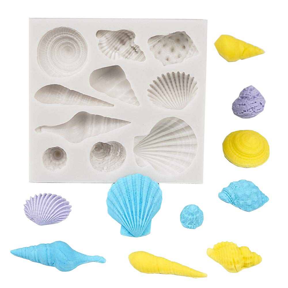 Bakeware Decorating Cake Mould Marine Conch Shells Silicone Cake Fondant for Chocolate Cookies Candy Color in Random Vioesrry