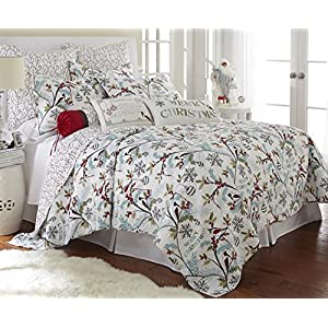 Levtex Holly Quilt Set, White/Red, Cotton Christmas Holiday
