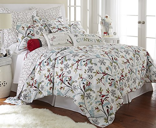 Holly Full/Queen Quilt Set, White/Red, Cotton Christmas Holiday