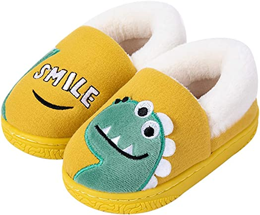 Muchy Toddler Boys Girls Animal Slippers House Cartoon Warm Soft Bedroom House Shoes for Kids Anti-Slip Cute Winter Indoor Booties 1-10 Years
