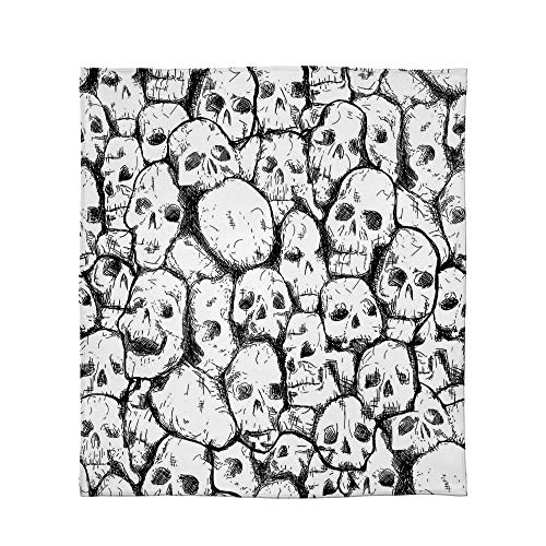 YOLIYANA Ultra-Soft Flannel Blanket,Skull Decorations,for Bed Couch Chair,Size Throw/Twin/Queen/King,Conjoined Head Motifs Spooky War Death ()