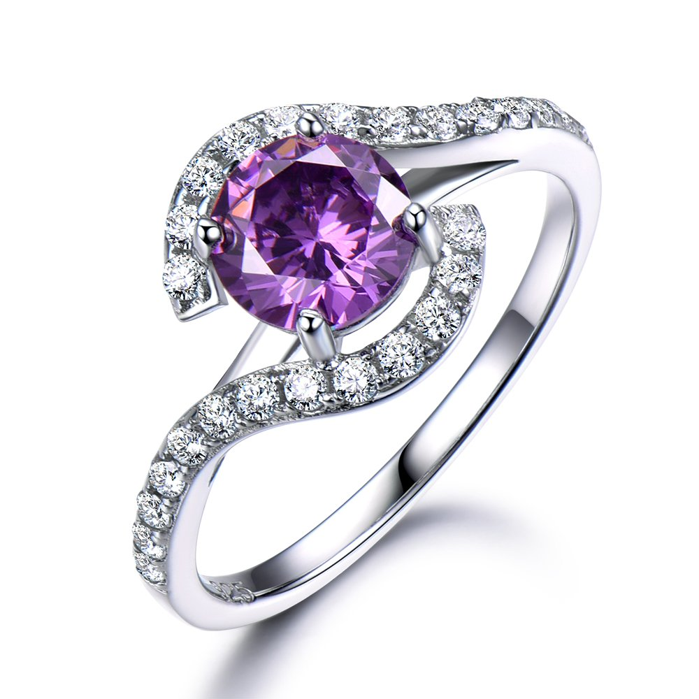 Amethyst Engagement Ring 925 Sterling Silver White Gold 6.5mm Round Cut Curved CZ Diamond Wedding Band