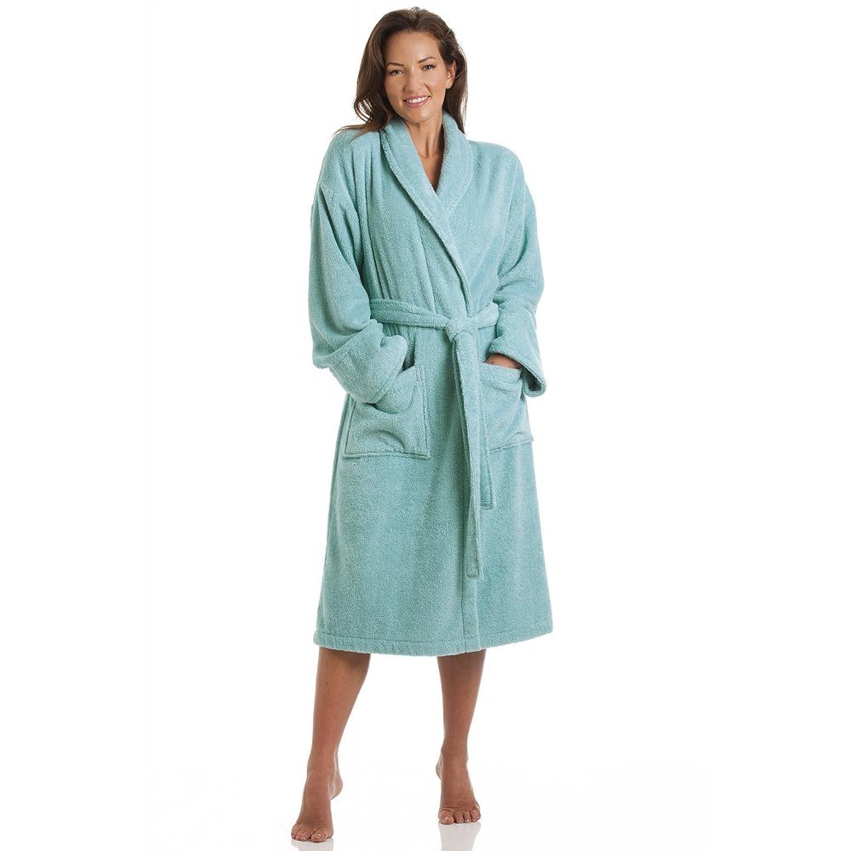 Camille Womens Ladies Luxury Aqua 100% Cotton Towelling Bath Robe