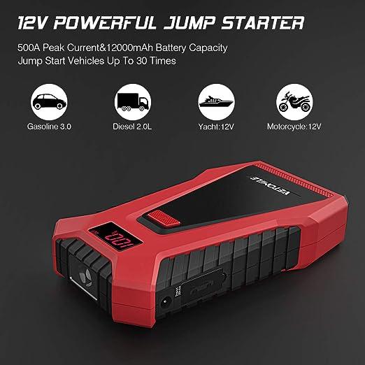 VETOMILE Arrancador de Coche 12000mAh 500A, 12V Jump Starter para Coches, Motos y Barcos (Motor de 3.0L Gas o 2.0L Diesel), Pantalla LCD, ...