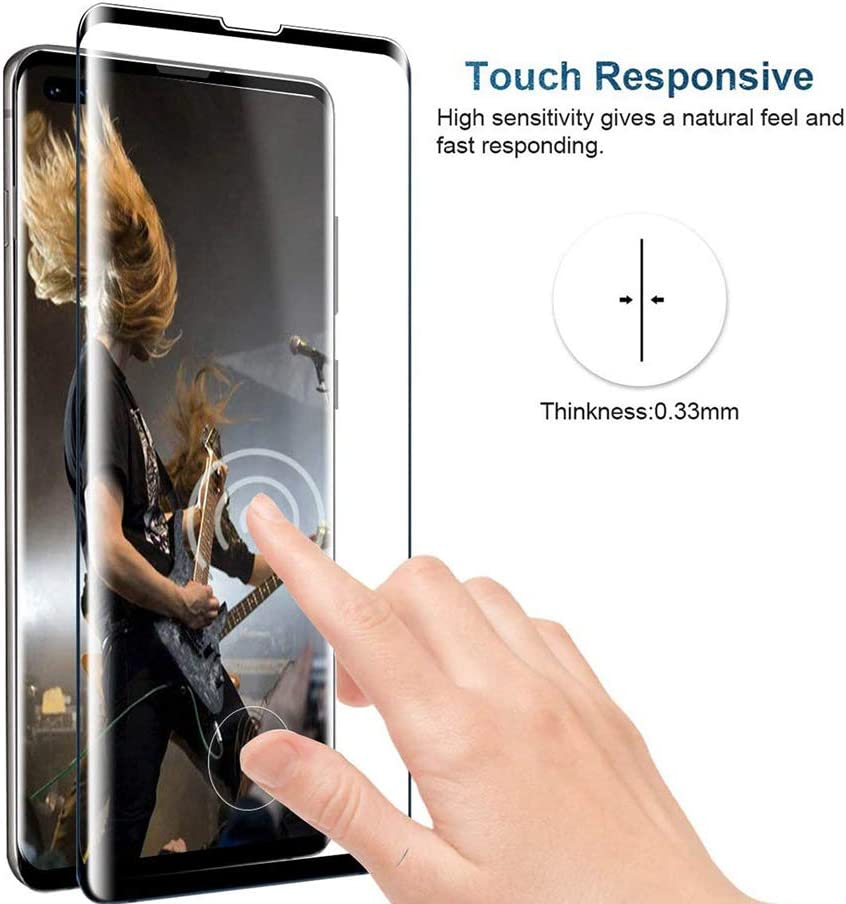 2-Pack 9H Hardness Cavalrywolf Galaxy S10 Screen Proetctor, Support Fingerprint Sensor Ultra Clear Premiun 3D Tempered Glass Screen Protector for Samsung Galaxy S10 Scratch Terminator