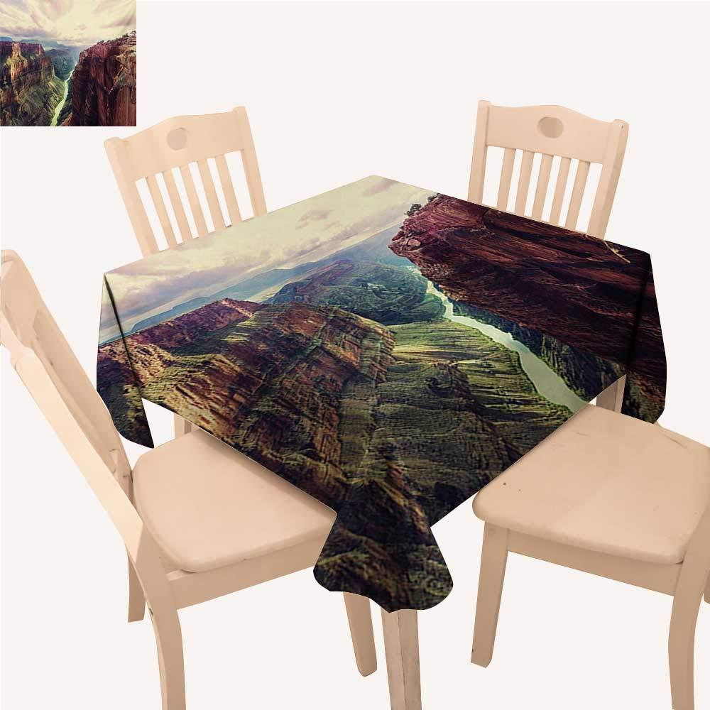 Angoueleven キャンパー 正方形テーブルクロス ミニキャラバン背景 ヴィンテージトリップイメージ 正方形テーブルクロス マルチ W 70