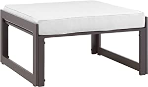 Modway Fortuna Aluminum Outdoor Patio Ottoman in Brown White