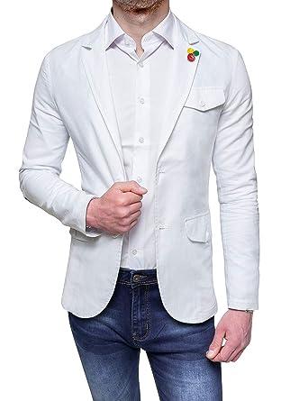 online retailer 1c146 facdd Evoga Giacca Sartoriale in Lino Uomo Bianca Estiva Casual Elegante