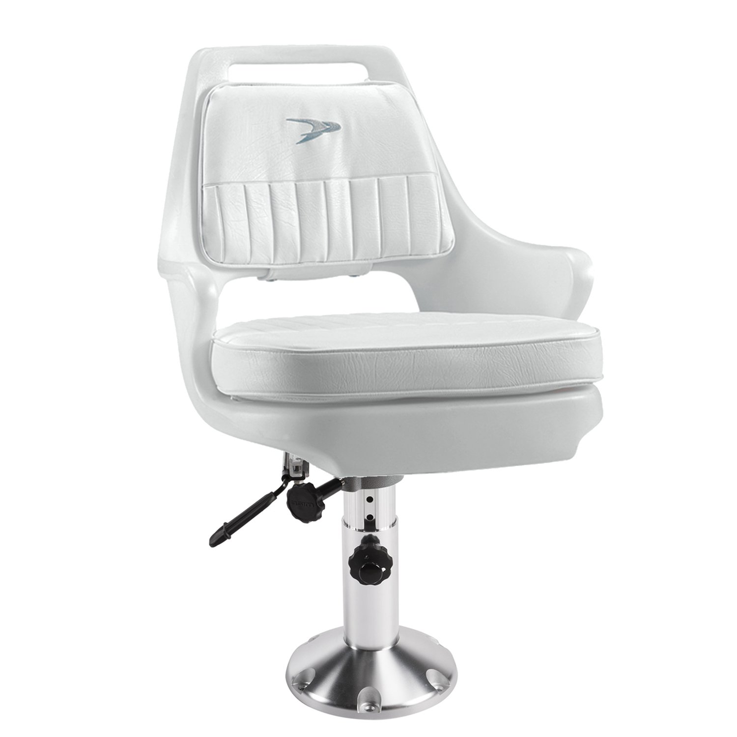 Wise 8WD015-6-710 Standard Pilot Chair with Cushions, 12-18'' Adjustable Height Pedestal and Seat Slide, White by Wise