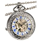 Hicarer Magnifying Glass Cover Silver Mechanical Pocket Watch with Blue Scale