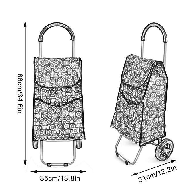 323c0881fb2b Amazon.com: ZSLLO Foldable Shopping Trolley Bag On Wheels Push Tote ...