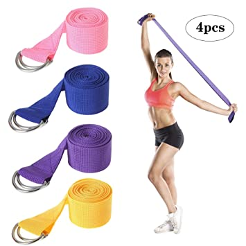 WYQWAN Yoga Strap - Exercise Straps Adjustable D-Ring Buckle ...