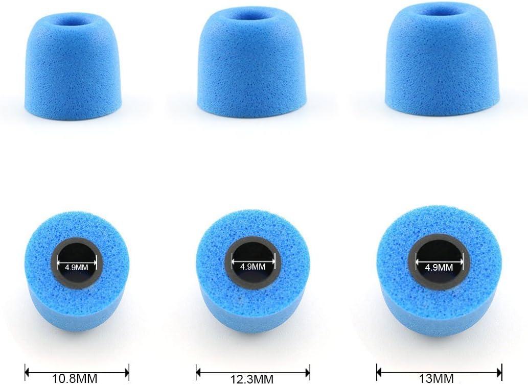 Heyous 3 Pairs//Set 4.9mm Memory Foam Earbuds Sponge Caps Covers S//M//L Noise Isolating in-Ear Eartips Sponge Replacement for Headphone Earphone Blue