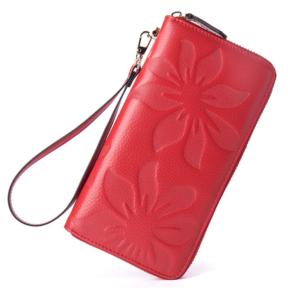 BOSTANTEN Womens Leather Wallets Credit Card Cash Holder Large Capacity Clutch Wristlet Red