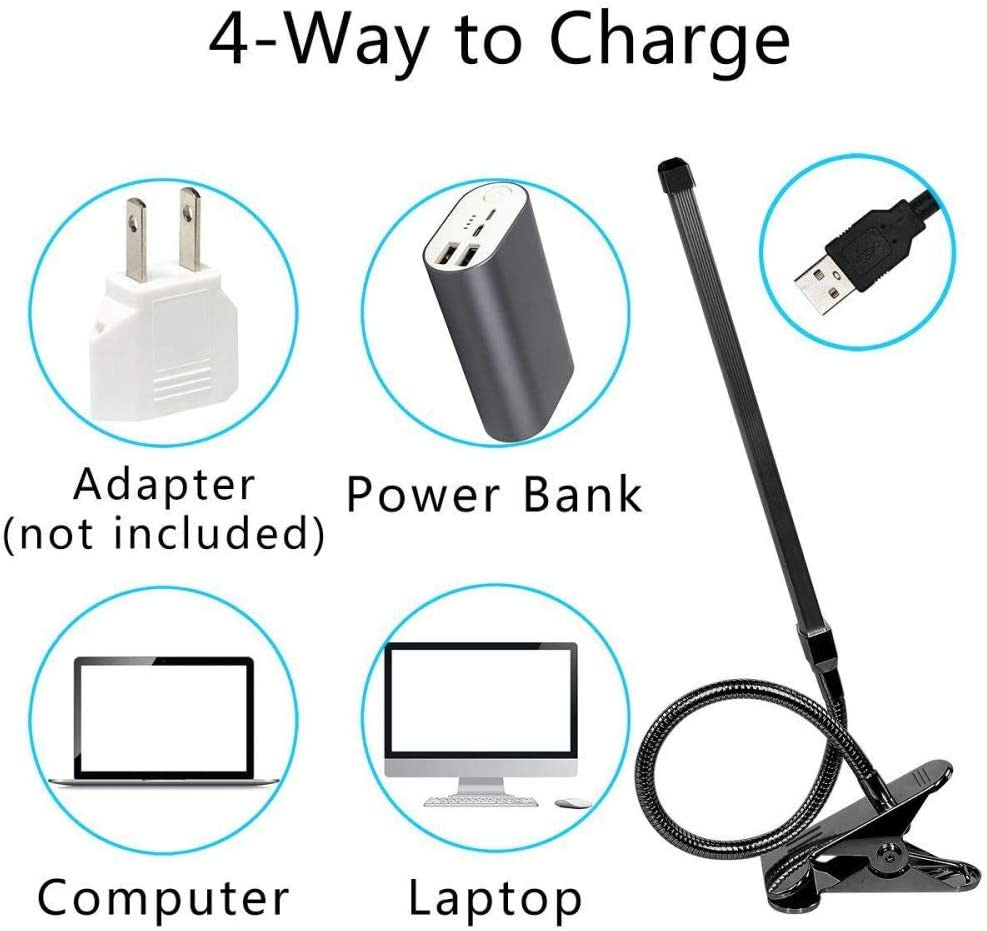 8W LED Clip on Desk Lamp with 3 Modes 2M Cable Dimmer 10 Levels Clamp Table Lamp black8w Black