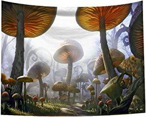 Magical Mushroom Tapestry, Enchanted Nature Pathway Fairytale Landscape Rocks, Wide Wall Hanging for Kids Bedroom Living Room Dorm Party Decor