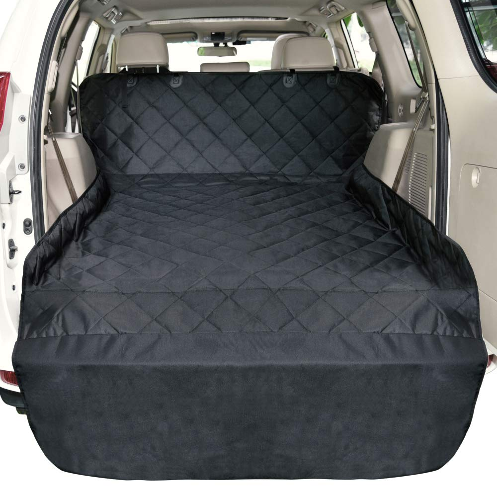SUV Cargo Liner, Black F-color Cargo Liner for SUV, Waterproof Pet Cargo Cover Dog Seat Cover Mat for SUVs Sedans Vans with Bumper Flap Predector, Non-Slip, Large Size Universal Fit, Black