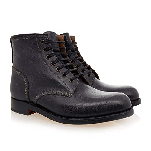 6e9baed85a3 Grenson Mens Tommy Black Vintage Leather Lace up Boots Size UK 11 Width G
