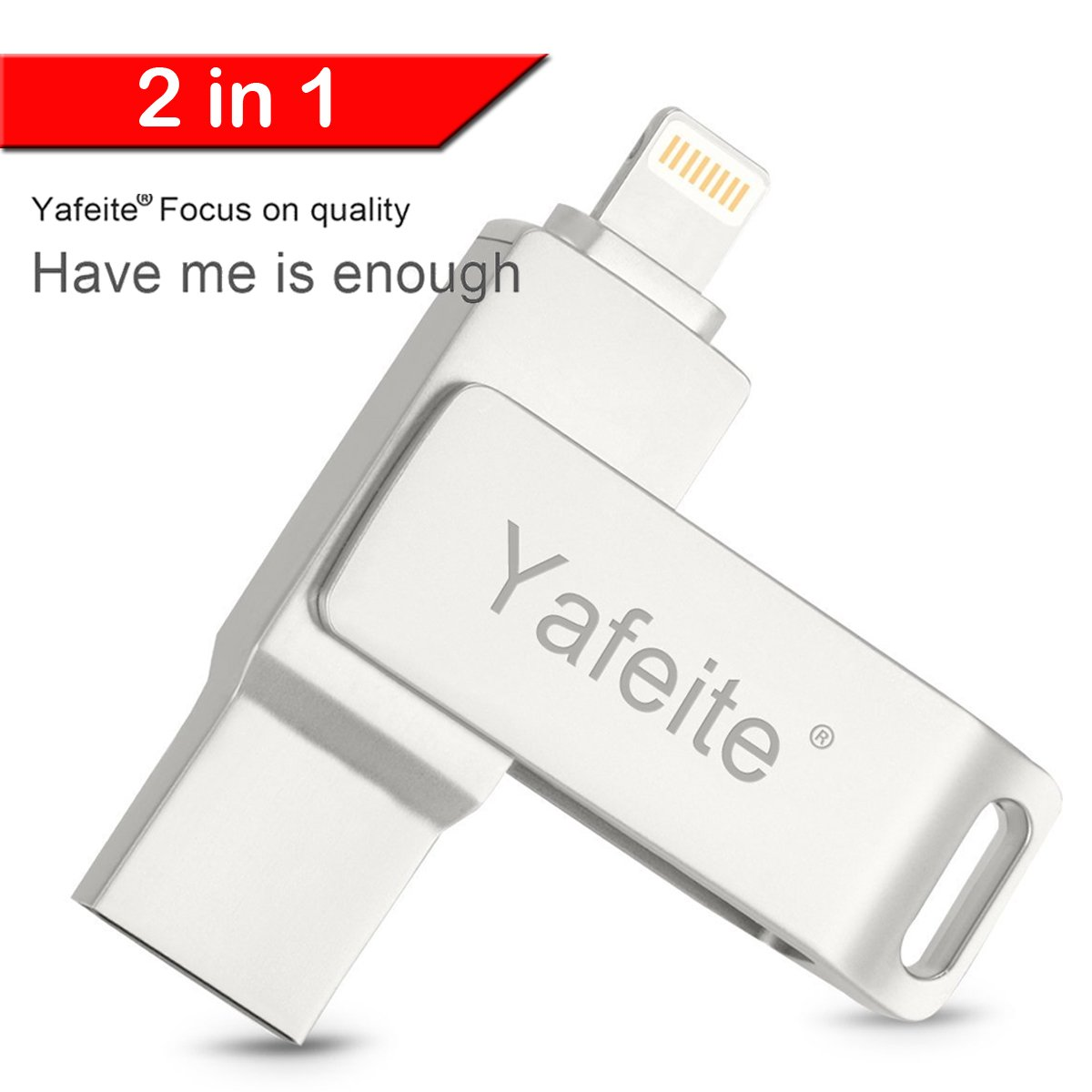 USB Flash Drive 32GB External Storage Expansion Memory Stick, Thumb Drive Lightning Connect iPhone 8/X iPad iPod ios Android PC 2 in 1 Silver