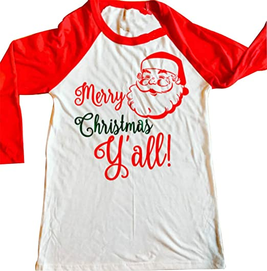 Merry Christmas Yall.Women Merry Christmas Yall Letters Santa Claus Printed Splicing 3 4 Sleeve T Shirt Pullover Top