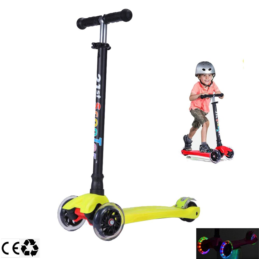 Micro 3 Wheel Scooter for Kids 4 Years Old and Up Scooters for Toddlers with Adjustable Height 180lb (Yellow)