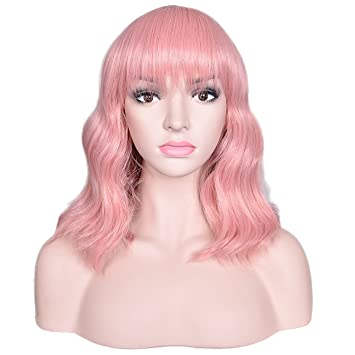 Amazon.com : Deifor Women Medium Length Curly Body Wave Synthetic Hair with Flat Bang Wigs (Pink) : Beauty