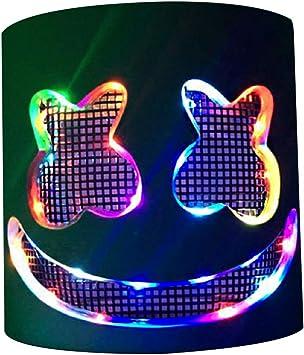 DJ- máscara de máscara LED para fiesta, casco de Marshmello ...