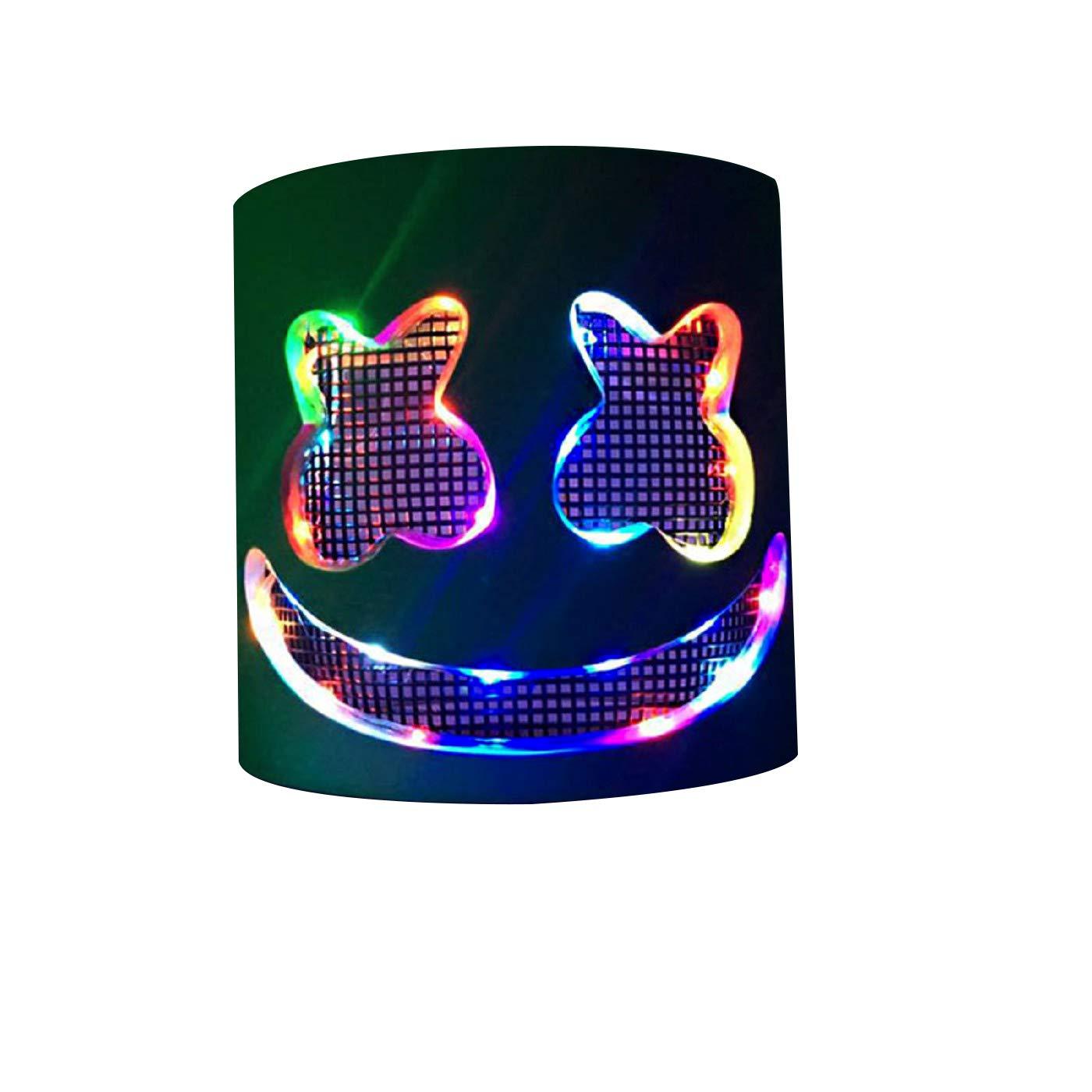 SDUQAN DJ Marshmello Mask,DJ Mask for Kids/Adults, LED DJ Mask Musical Party Masks Birthday Gifts,EVA Non Smell Costume Decor ((1) Led Colorful)