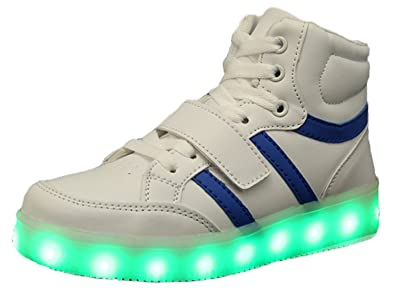 Amazon.com  High Top Led Light Up Shoes USB Charging 11 Colors Flashing  Sneakers for Mens Womens Girls Boys  White 12 M US Little Kid   Shoes 4c13a499a