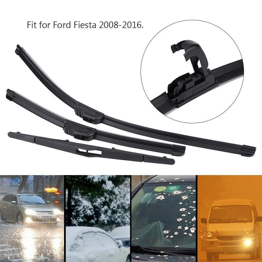 3pcs delantero y trasero Ford Fiesta MK6 1.25 Parabrisas Juego de cuchillas de limpiaparabrisas Juego para gancho en forma de U y en forma de J (coches con ...