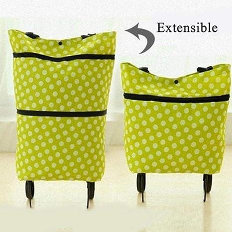 BWYFGRT Bolsa Plegable Eco Trolley Bolsa con Ruedas ...