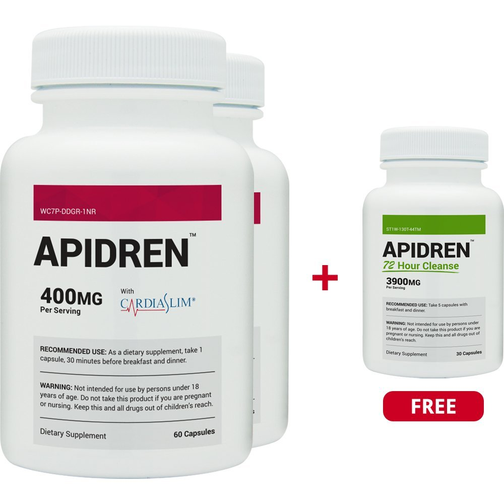 Apidren 2 Pack & 1 Free Apidren 72 Hr Cleanse - Best Diet Pill for Healthy Weight Loss and Detox Cleanse - 6 All-Natural Ingredients - Weight Loss Combo Pack