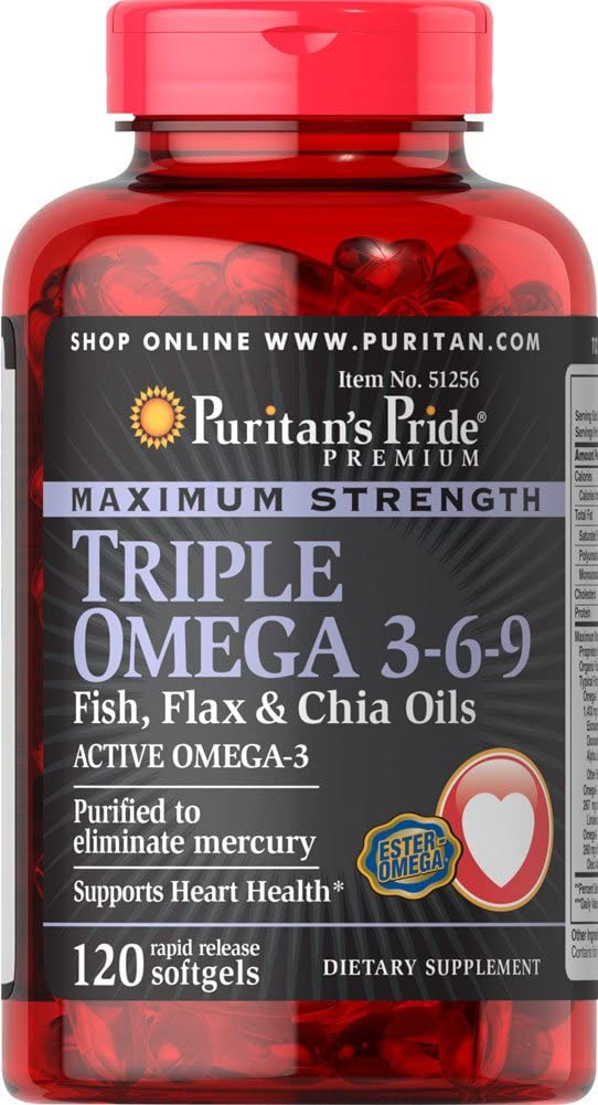 Puritan's Pride Maximum Strength Triple Omega 3-6-9 Fish, Flax & Chia Oils-120 Softgels