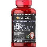 Puritan's Pride Maximum Strength Triple Omega 3-6-9 Fish, Flax & Chia Oils-120 Softgels