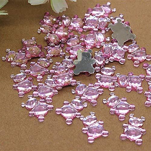 ZAMTAC 1316mm 100pcs Kawaii Teddy Bear Charm Acrylic Flatback cabochon DIY Baby Shower Decoration Scrapbooking - (Color: Pink Bear)