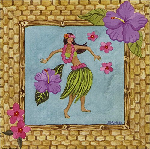 Tiki Girl III by Jennifer Brinley Laminated Art Print, 9 x 9 inches