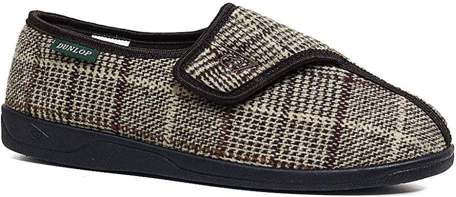DUNLOP MENS WASHABLE HOOK AND LOOP SLIPPERS NAVY SIZE UK 7-12 NEW