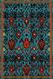 ADGO Siena Collection Traditional Oriental Live Blue Red and Orange Design Shabby Chic Shed Free Living Dining Bedroom Area Rug (8′ x 10′) Review