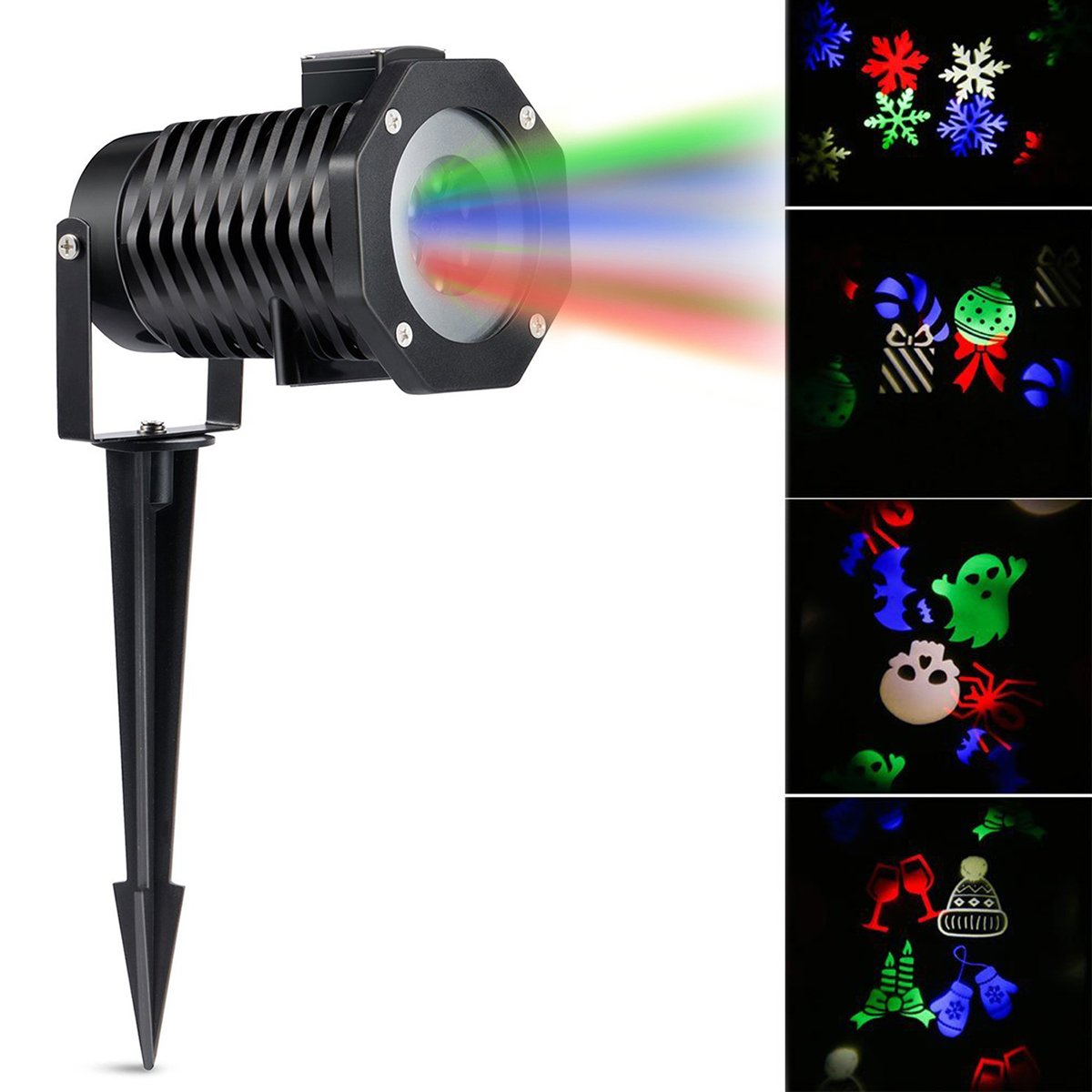 LED Projector Light, ONEVER Led Projection Lamp with Spike Outdoor Landscape Light with 10 Gobo Slides for New Year, Halloween Party and Holidays, US Plug (RGBW)