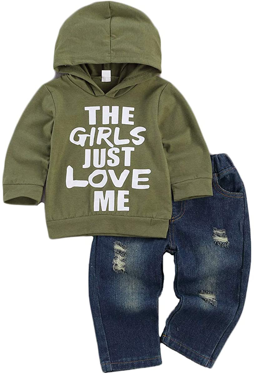Toddler Baby Boy Outfits Hoodie Sweatshirts & Jeans Clothes Set Fall Winter 6 9 12 18 24 Months