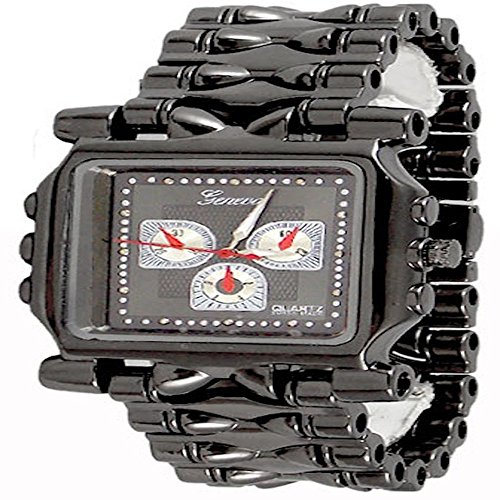 Gun Metal Mens Geneva Watch Fashion Designer Oversized Boyfriend