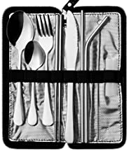 Portable Travel Utensils, Reusable Silverware with Case for Fixing Tableware, 9 Pieces Stainless Steel Stable