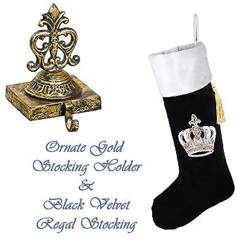 Elegant Luxus Weihnachtsstrumpf Set U2013 Schöne Distressed Gold Gusseisen  Weihnachtsstrumpf Halterung Mit Luxus Designer Gothic Schwarz Samt