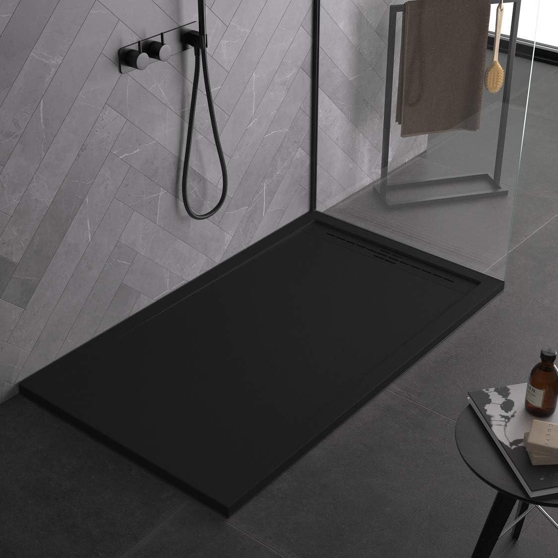noir gelcoat en marbre et r/ésine /à effet pierre ardoise mod/èle Ibiza Receveur de douche noir de luxe au design moderne slim 3 cm