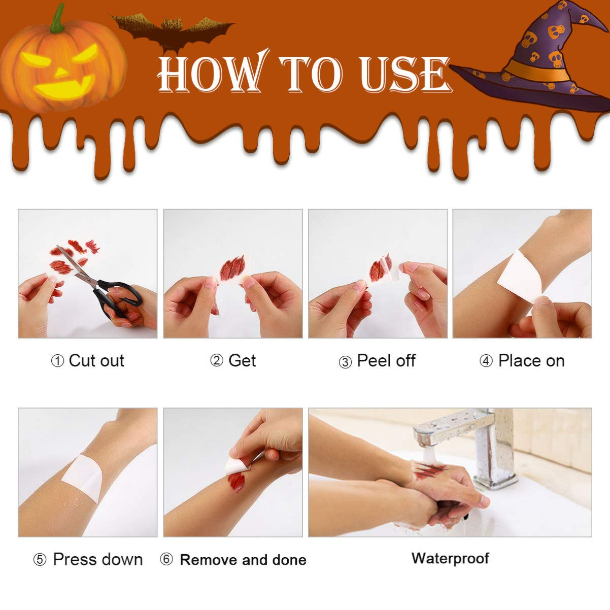 Halloween Scar Tattoos, 30 Sheets Temporary Zombie Tattoos Scar Tattoos Temporary for Halloween Cosplay Costume