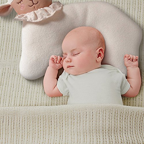 Organic Cotton Baby Head Positioner and Shaping Pillow – Helps Prevent Flat Head Syndrome (Plagiocephaly) and Provides Head and Neck Support for Your Newborn Baby (0-12 Months) (1-Pack, Little Lamb) by AnPei (Image #2)