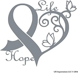 UR Impressions Silv Cancer Awareness Ribbon Heart Butterfly Vine - Life Hope Decal Vinyl Sticker Graphics for Cars Trucks SUV Vans Walls Windows Laptop|Silver|6.4 X 5.5 inch|URI442-S